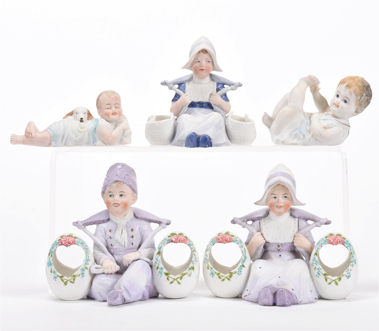 (5) German Bisque Figural Items