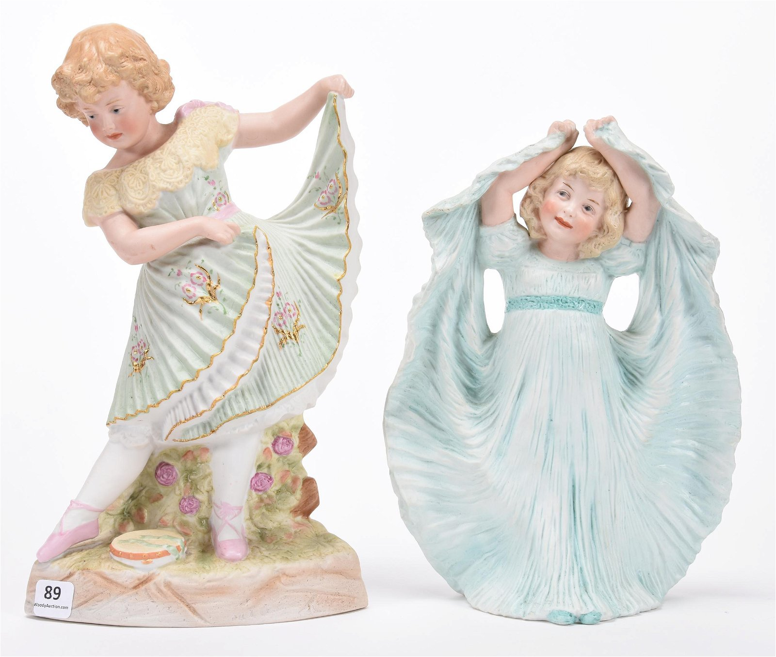(2) German Heubach Bisque Figurines, Marked