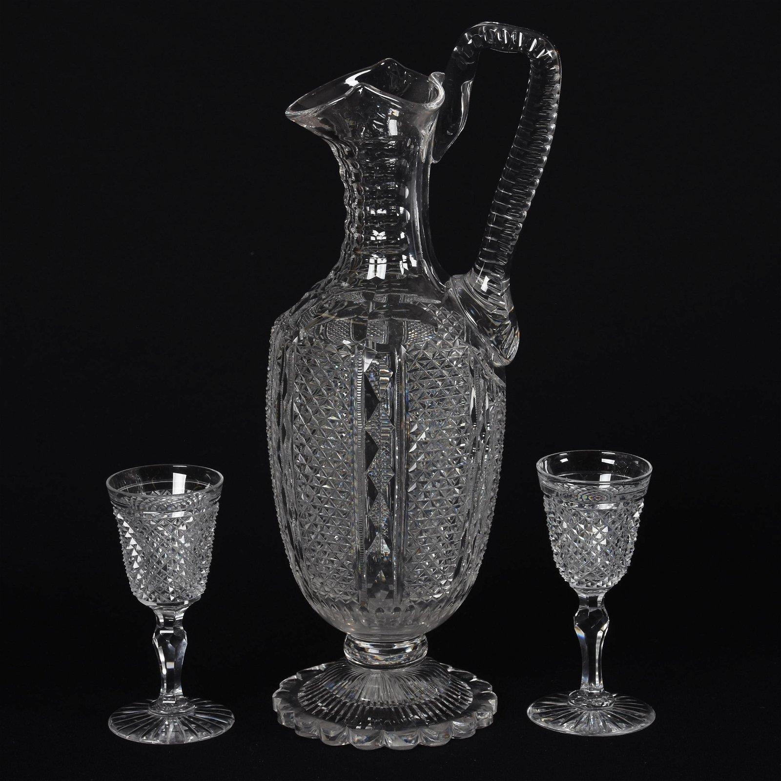 Ewer & (2) Wines, American Brilliant Cut Glass