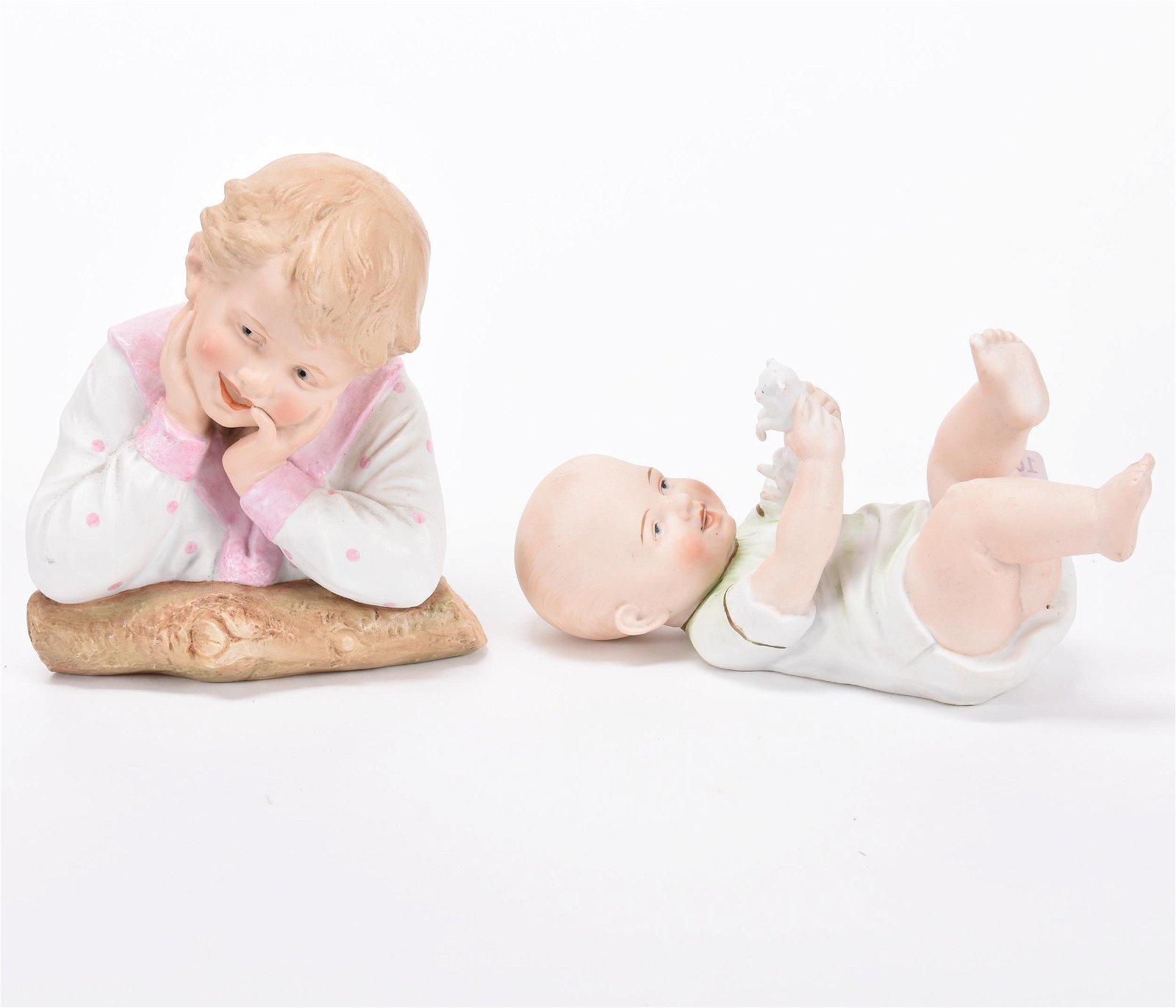 (2) German Bisque Figurines