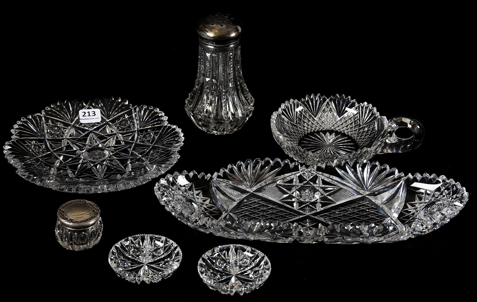 (7) Assorted American Brilliant Cut Glass Items