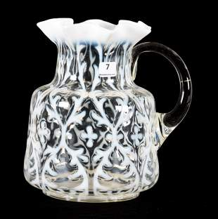 Pitcher, Northwood Art Glass, Crystal Opalescent