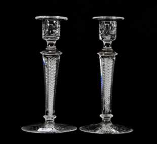 Pair Candlesticks, ABCG, Signed Libbey