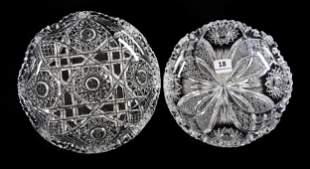 (2) Low Bowls, American Brilliant Cut Glass