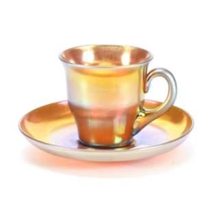 Cup & Saucer Signed Steuben Aurene #2780 Art Glass