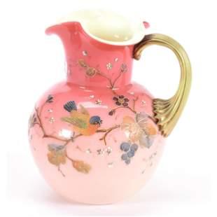 Pitcher, Phoenix Art Glass, Pink Cased Exterior