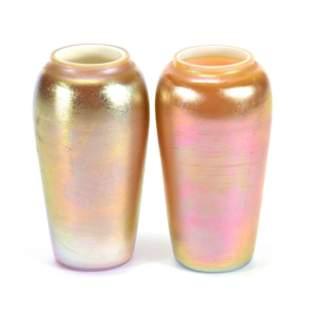 (2) Vases, Art Glass Marked Durand #1922 1/2