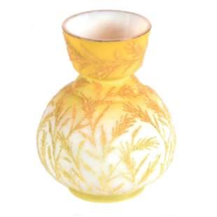 Vase, Yellow & White Satin Art Glass