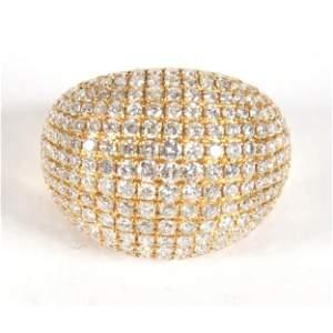 18k Gold Ring W/ 258 Round Brilliant Diamonds, 4.7ct
