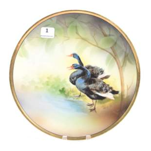 Plate Marked R.S. Germany, Rare Black Swan Decor