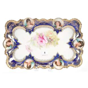 Dresser Tray, Unmarked Prussia, Medallion Mold
