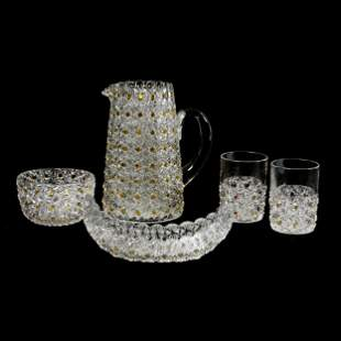 (5) Piece Button & Daisy Set, Clear W/Amber Buttons