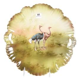 Cake Plate Marked RSP, Ostrich Scenic Decor