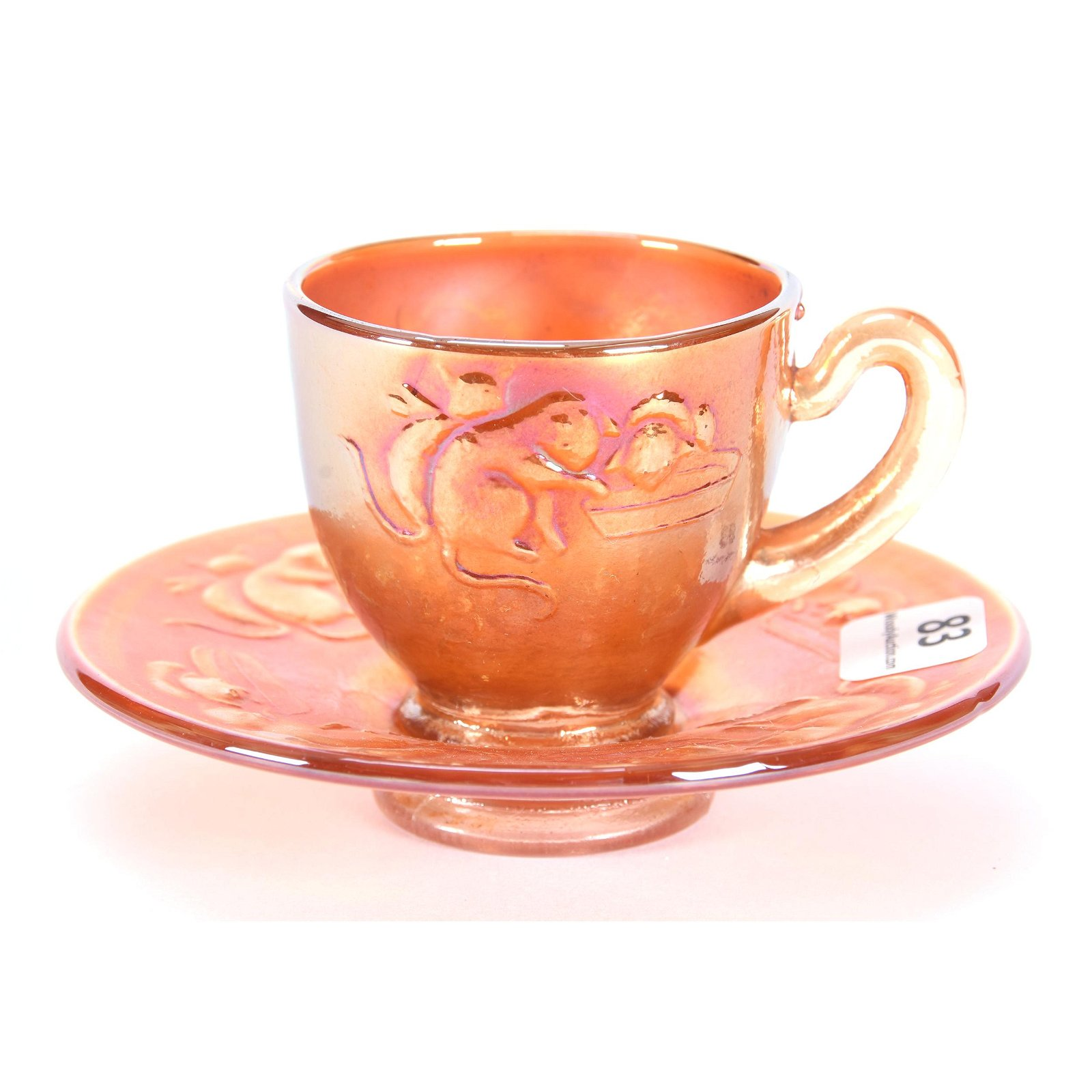 Cup & Saucer, Carnival Glass Kittens By Fenton