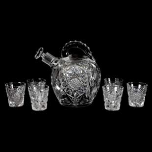 Rum Set, ABCG, Venetia Pattern, Signed Libbey