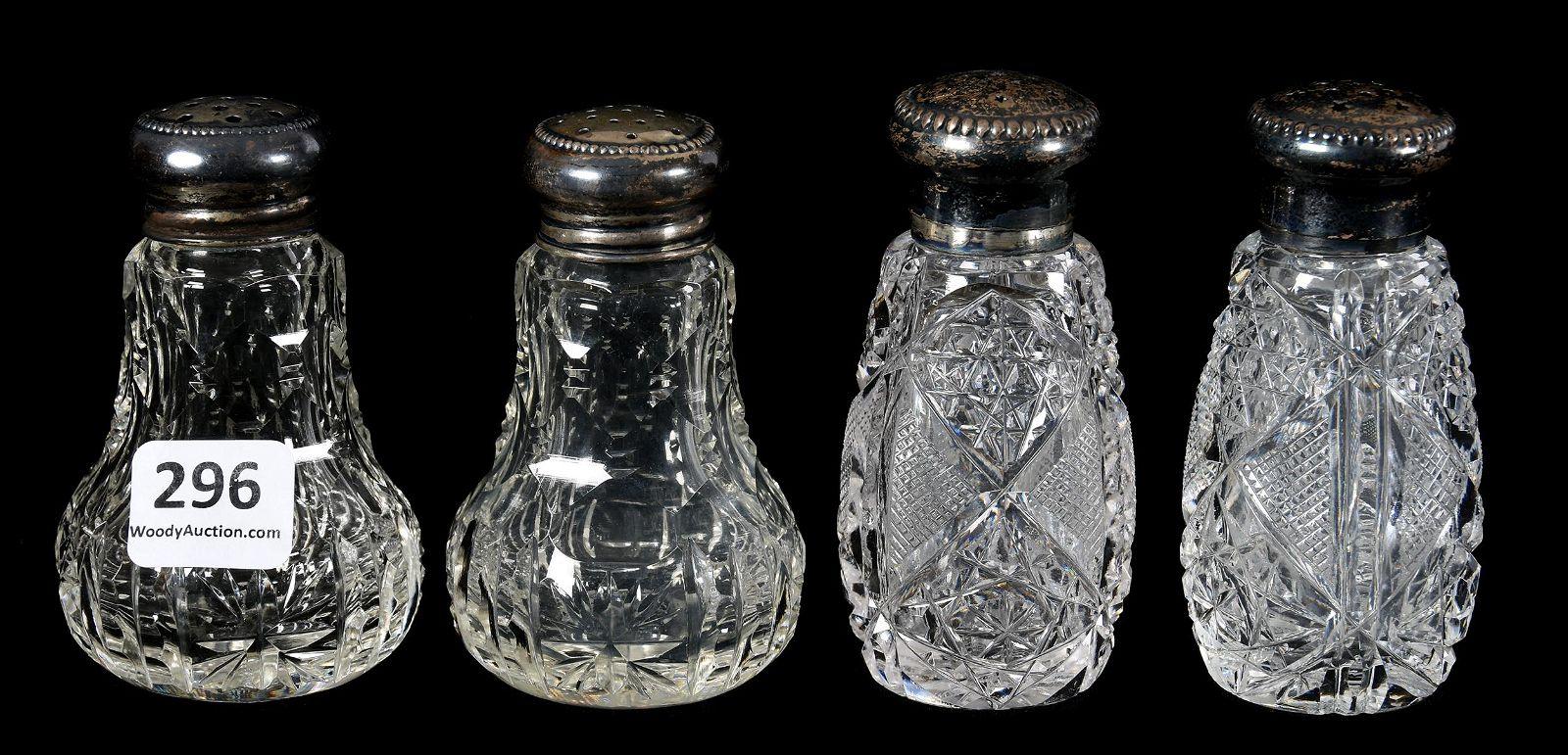 (2) Pair Salt & Pepper Shakers, ABCG, Sterling Lids