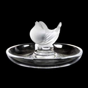 Pin Tray Signed Lalique France, Finch