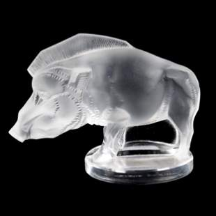 Paperweight Signed Lalique France, Boar