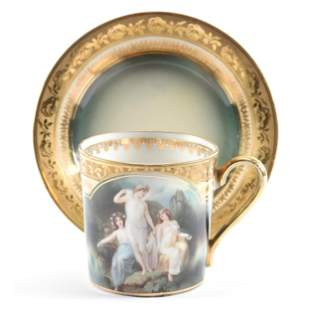 Cup & Saucer, R.S. Suhl Scenic Bathing Beauties