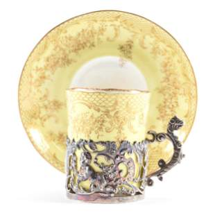 Cup & Saucer Marked Staffordshire Egg Shell