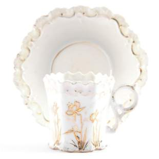 Cup & Saucer, Unmarked Prussia, Molded Star Mark