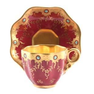 Cup & Saucer Marked Coalport, Jeweled
