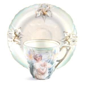 Cup & Saucer Marked R.S. Prussia, Winter Scene