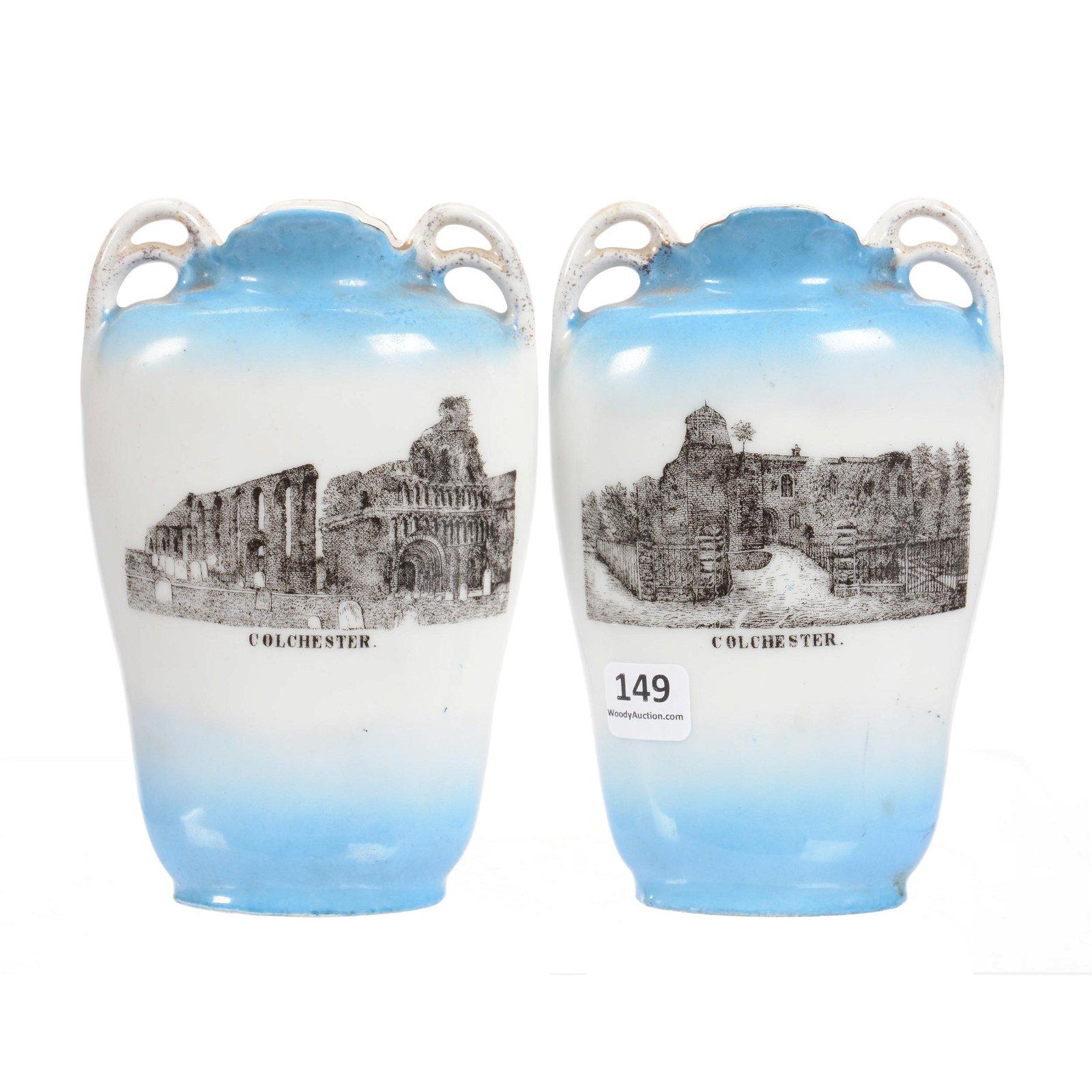 Pair Vases, Unmarked Porcelain