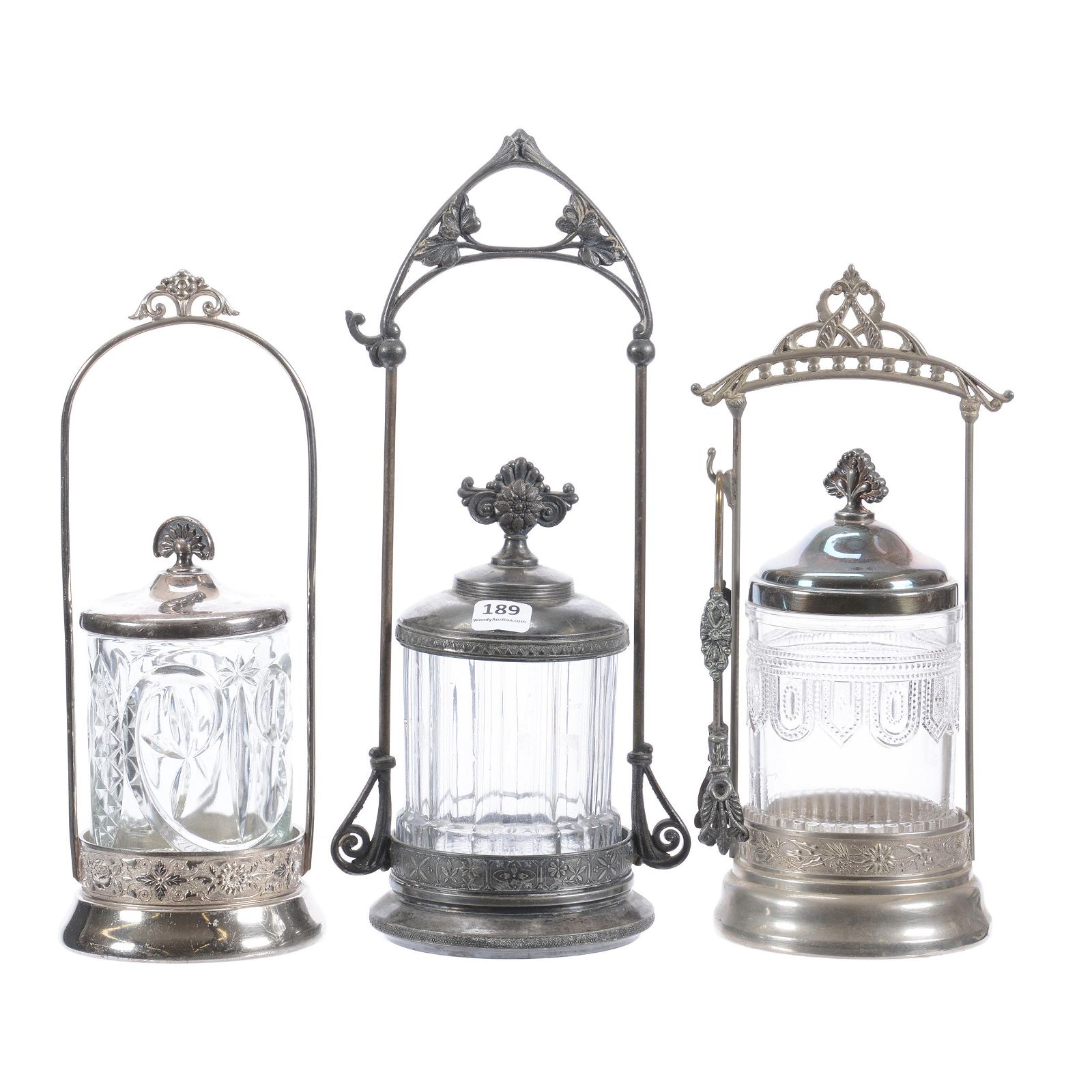 (3) Victorian Pickle Castors, Clear Glass Inserts