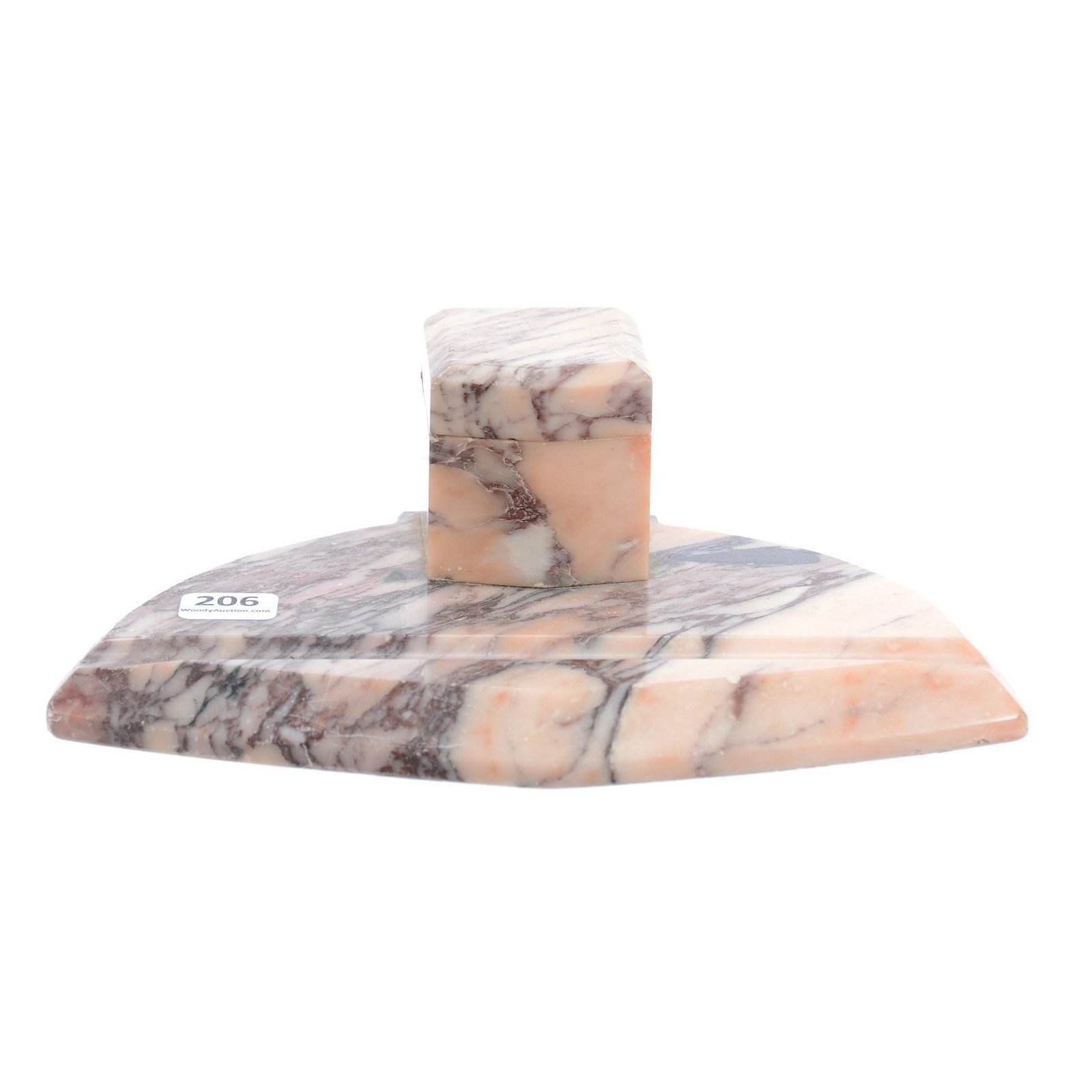 Pink Marble Inkwell With Porcelain Insert