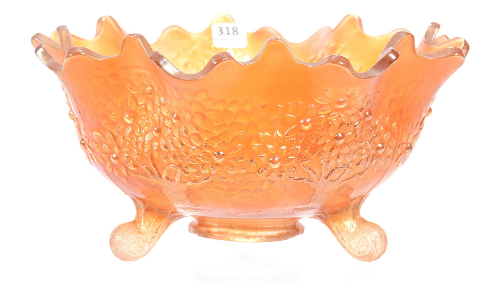 Carnival Glass Fruit Bowl, Marigold Orange Tree