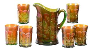 Carnival Glass Water Set, Green Singing Birds