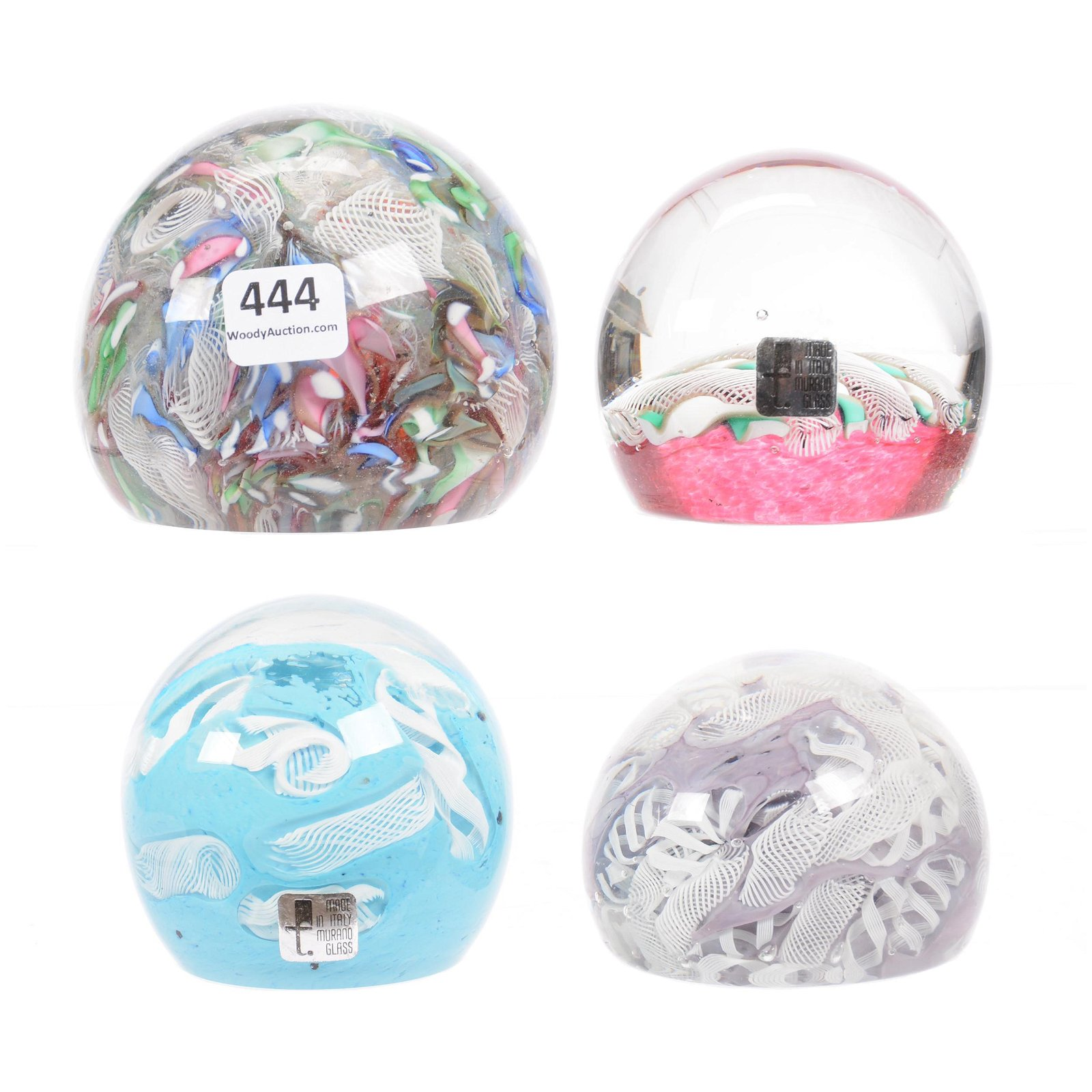 (4) Paperweights, Murano Glass, Paper Labels
