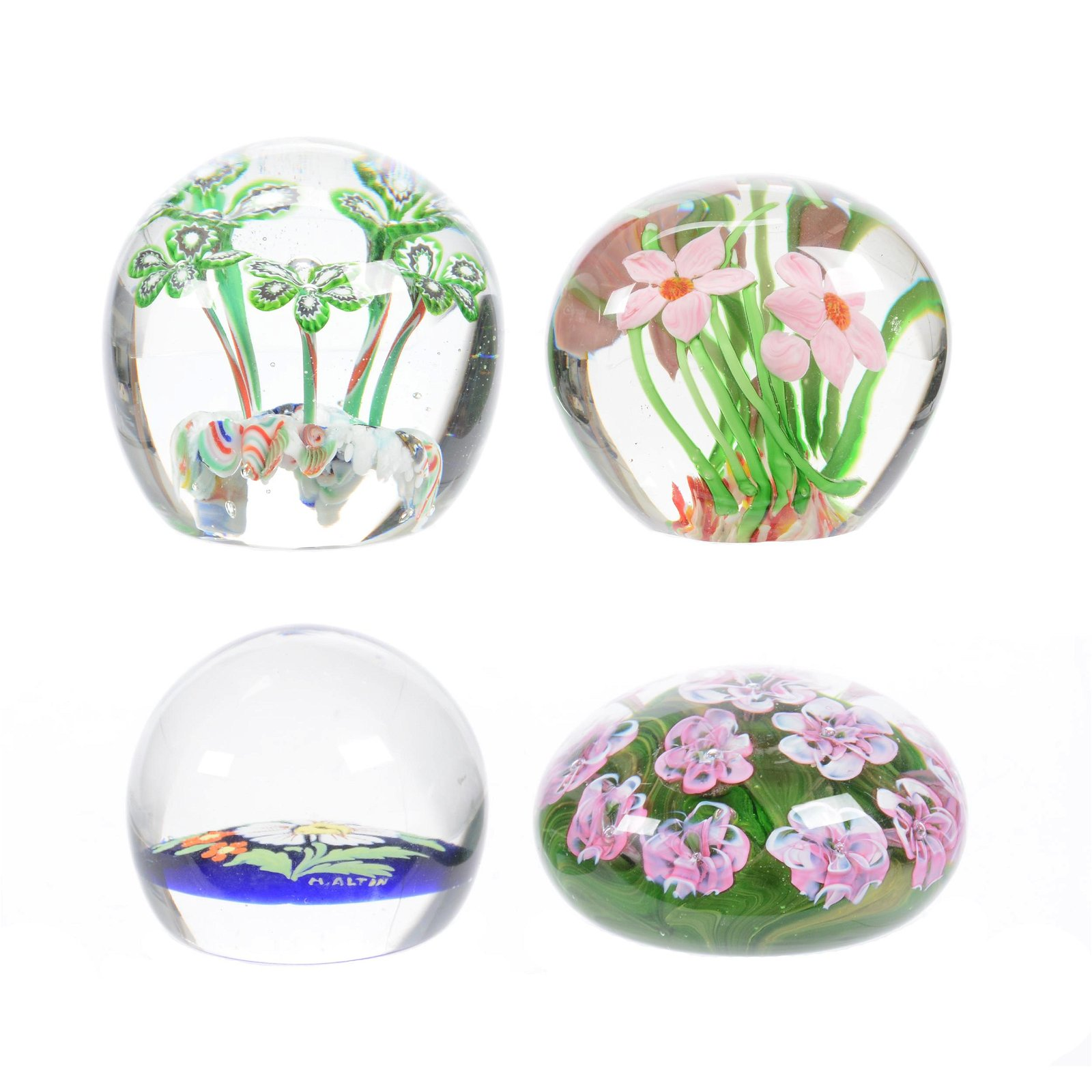 (4) Paperweights, All With Floral Design
