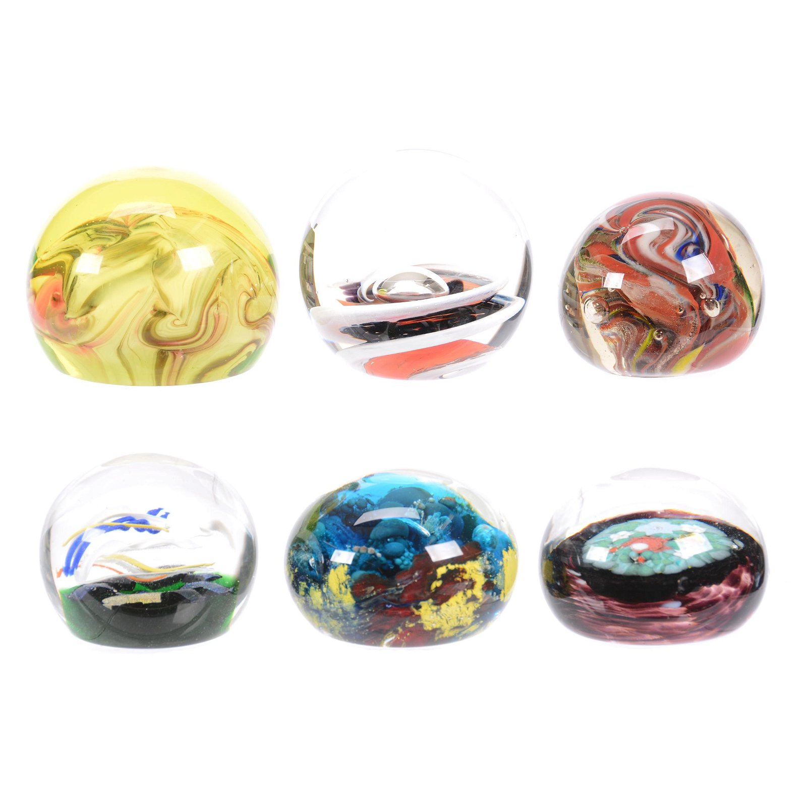 """(6) Paperweights, Sizes From 3.5"""" To 2.75"""" Diameter"""