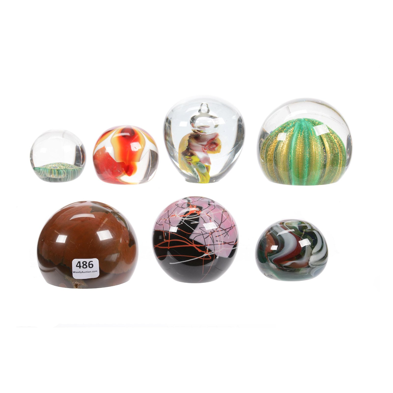 (7) Paperweights, Assorted Art Glass
