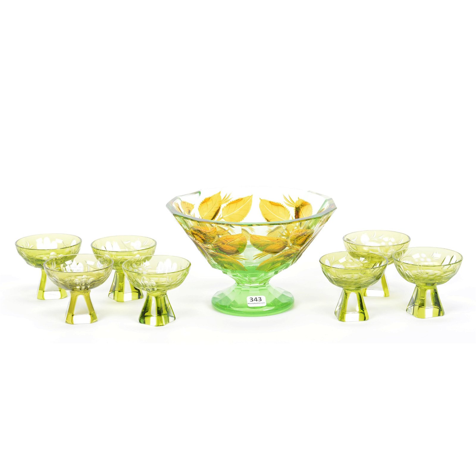 (1) Large Glass Pedestal Bowl & (7) Cups