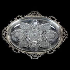 Serving Tray, ABCG, Elaborate Sterling Rim