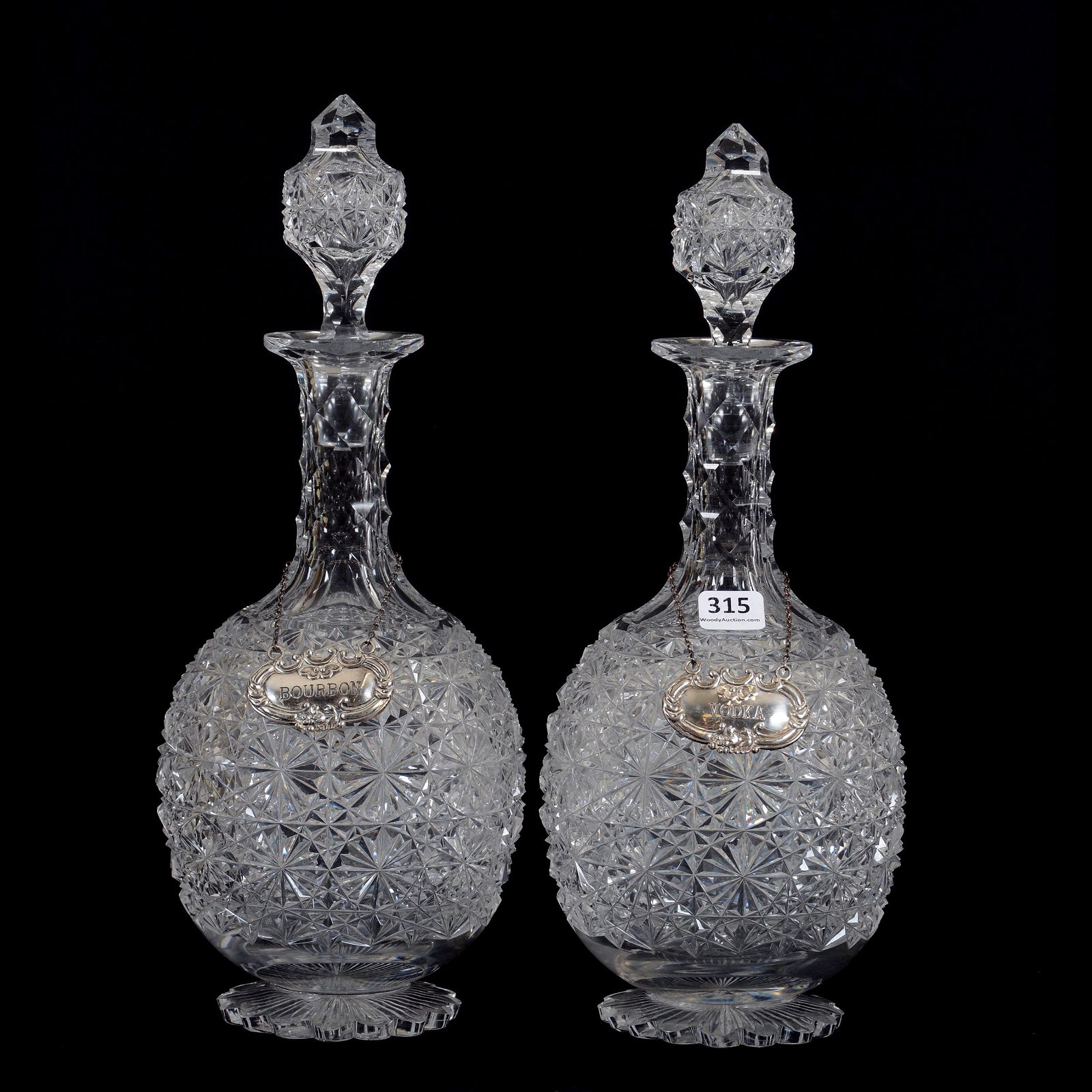 Pair Decanters, American Brilliant Cut Glass
