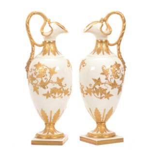 Pair Vases, French Porcelain 2nd Empire(1848-1870)