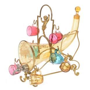 Liqueur Set, Amber Art Glass Cornucopia Decanter