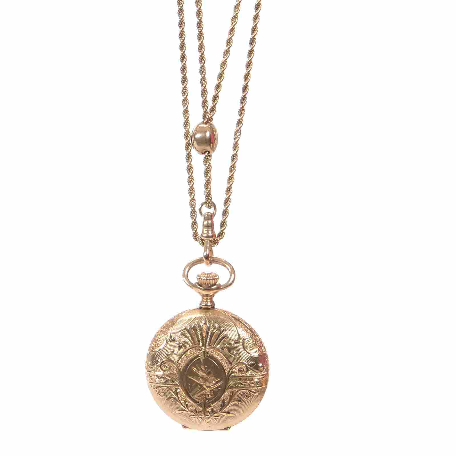14K Gold Elgin Lady's Pocket Watch with 14K Gold Chain