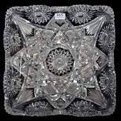 Square Bowl, American Brilliant Cut Glass, Bristol Rose