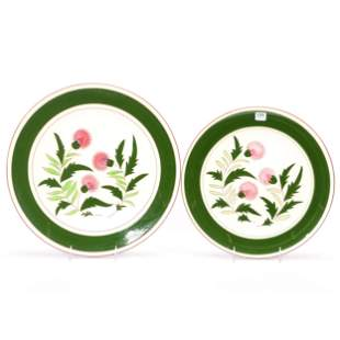 (2) Stangl Pottery Round Chargers, Thistle Pattern