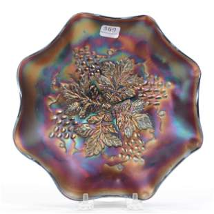 Bowl, Carnival Glass, Grape Leaves By Northwood