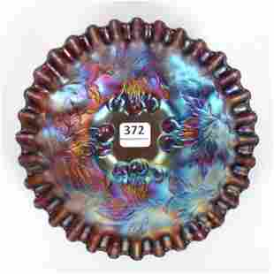Carnival Glass Plate, Cherry Pattern By Dugan