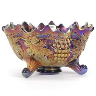 Carnival Glass Fruit Bowl, Northwood Grape