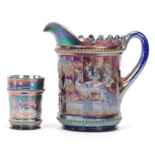 Water Pitcher & Tumbler, Carnival Glass