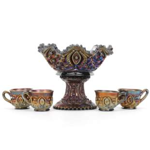 Punch Bowl, Carnival Glass, Memphis By Northwood