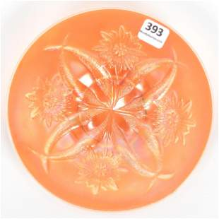 Carnival Glass Plate, Four Flowers By Dugan